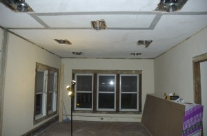 "Ceiling in the living room.  Note the recessed lights and electrical box are lowered 1 1/4"" from the current ceiling."