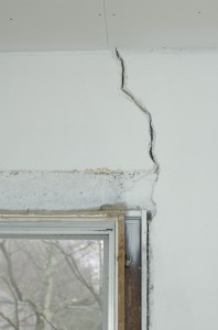 One of the original cracks above a window frame.